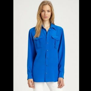 Ralph Lauren Blue Label 100% Silk Blue Safari Top